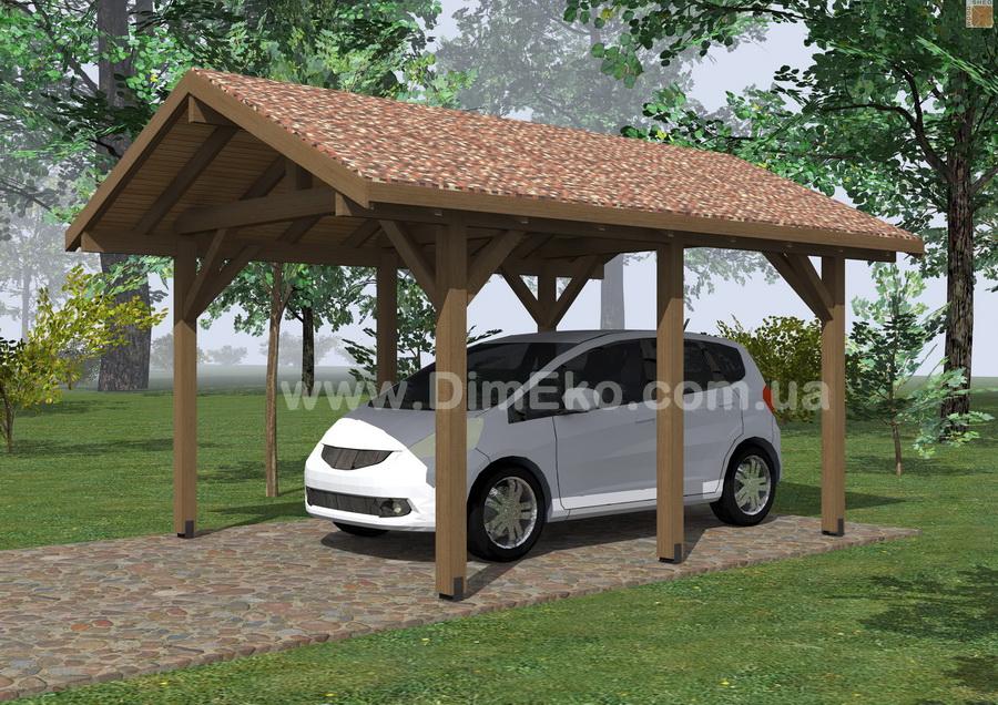 деревянный навес для автомобиля яресь